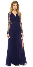 Dark blue long sleeve prom evening lace dress with a buttoned up back size 8-10