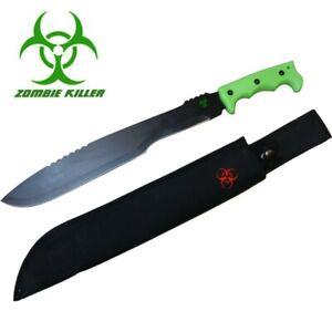 Zombie Killer - Hunting Survival Machete Fighting Knife Green Handle New
