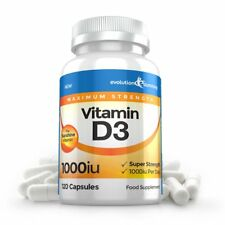 Vitamin D D3 1000IU Super Strength Sunshine 120 Capsules Evolution Slimming