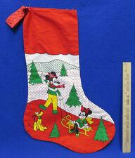 Mickey & Minnie Mouse Pluto Handmade Christmas Stocking Red Green Winter Scene