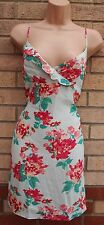 FOREVER 21 LIGHT GREEN PINK FLORAL STRAPPY A LINE TUNIC MINI TEA SUMMER DRESS M