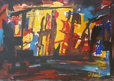 Vintage abstract expressionism gouache painting signed