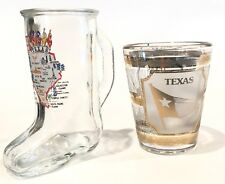 Texas Boot Map & Gold Longhorn Lone Star State Flag Shot Glasses ~ Set of 2