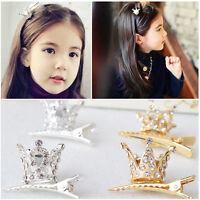 Cute Children Girl Hair Clips Rhinestone Crystal Crown Hairpin Princess Barrette
