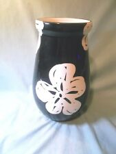 Bitossi Abstract Floral Black & White Hand Glazed Ceramic Vase.- Italy - 9.75""