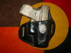 Leather holster black leather for Glock 43  with badge Kwik & Free
