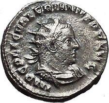 Valerian I 257AD Silver Ancient Roman Coin Rare Sol Sun God Cult Whip i40631