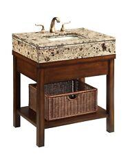 "29"" Darren Cottage Style Rattan Wood Bathroom Sink Vanity Brown Marble Top #Q404"