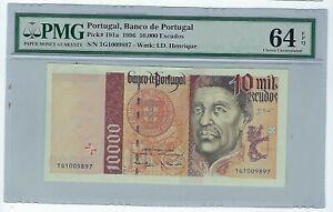 PORTUGAL Portuguese 10000 Escudos  1996 P-191 PMG 64 EPQ