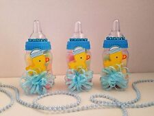 12 Baby Duck Fillable Bottles Baby Shower Boy Favors Prizes Blue Decorations