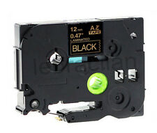 """Brother Compatible TZ334 P-Touch 1/2"""" 12mm Gloss Gold on Black Tape TZ-334"""