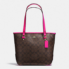 New COACH F23867 F58294 Zip Top Tote Handbag Purse Bag Brown/Fuchsia Pink