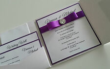 Wedding Invitation - Square 'Vanessa' Pocket Fold Invitation Customised