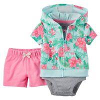 Carter's Baby Girl Hooded Short Sleeve Cardigan Bodysuit & Shorts 3 Pc Set NWT