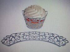 72 SILVER Filigree Lace CUPCAKE WRAPPERS COLLARS wedding shower table FREE SHIP