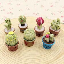 7pcs Resin Cactus Ornaments Artificial Plant Figurines Garden Home Decorations