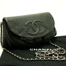 CHANEL Authentic Caviar Half Moon WOC Wallet On Chain Clutch Shoulder Bag f63