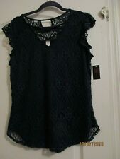Womens lace overlay sleeveless top cami blouse blue sz XLARGE floral
