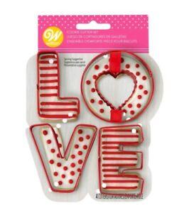 NEW Wilton LOVE 4 Piece Metal Cookie Cutter Set Valentines Day