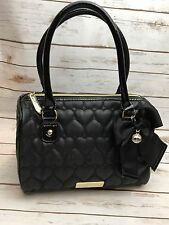 BETSY JOHNSON DOCTOR BAG Black Handbag/Purse Quilted Heart Faux Leather