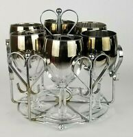 Vintage Mid Century Silver Fade Rim Cocktail Wine Glasses w/Chrome Heart Caddy