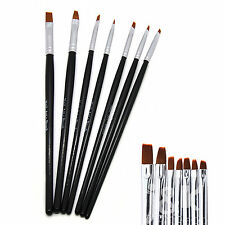 7pcs Black UV Gel Nail Art Design Painting Sable Brush Pen Tool Set NB0005