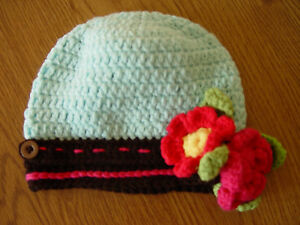 HANDMADE CROCHET KNIT HATS FOR BABIES & KIDS-BLUE/BROWN CAP W/ FLOWERS-0-5 YRS