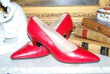 CLASSIC CHRISTIAN LACROIX PARIS RED LEATHER HIGH HEELS WOMEN'S PUMP SHOES SZ 8 B