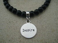 Inspirational Silver Believe Inspire Charm Beaded Bracelet PICK YOUR BEAD COLOUR