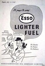 1949 'ESSO' Cigarette Lighter Fuel Print ADVERT - Small Vintage Original Ad