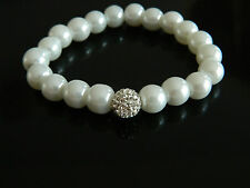 Shamballa Style Bracelet Composition of White Pearls & Disco Ball Elastic BB1