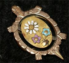 Antique Victorian Figural Turtle Pin Brooch Vintage Rhinestone Gold Wash Enamel