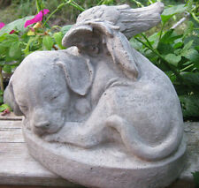 Concrete Sleeping Dog Angel Statue With Wings Up