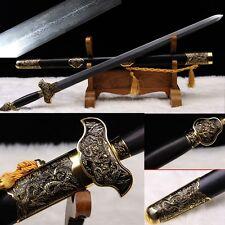 "Handmade Chinese Sword ""Tai Ji Sword""(劍) Pattern Steel Blade Alloy Fittings#2013"