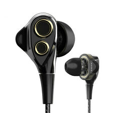 Dual Dynamic Drive Earphones Super Bass Sport In Ear Earbuds Headphone With Mic