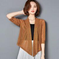 Ladies Kimono Waterfall Cardigan Mesh Shawl Shrug Top Sunscreen Outwear Oversize