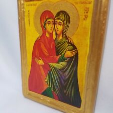 The Embracement of St Elisabet and Virgin Mary ICXCNIKA Greek Orthodox Icon Art