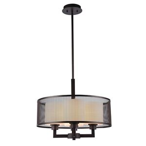"DONOVAN TRANSITIONAL 4 LIGHT RUBBED BRONZE CEILING PENDANT 19"" LIGHTING FIXTURE"