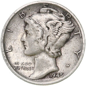 UNITED  STATES   10 Cents   1945 S   SILVER  *