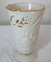 "LENOX 4"" China Vase Cream Color Embossed Floral Rose Gold Trim Made USA Cup"