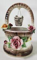 "Capodimonte Figurine 9""×6"" Ceramic Well w/Roses Centerpiece Vintage Collectible"