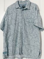 Aigle Mens Dress Button Up Hawaiian Vacation Cruise Cabana Shirt Sz XXL Blue
