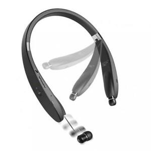 NECKBAND WIRELESS HEADSET RETRACTABLE EARBUDS w MIC for SMARTPHONES