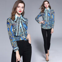 Spring Summer Fall Peacock Print Collar Bow Tie Womens Casual Top Shirt Blouse