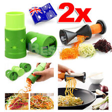2x Vegetable Spiral Slicer Spiralizer Twister Fruit Cutter Peeler Kitchen Tool