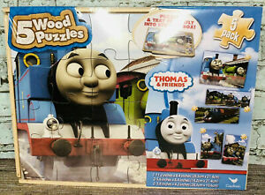 NEW Unopened Kids Thomas The Train 5 Wood Puzzles Storage Box Tray Learn Puzzle