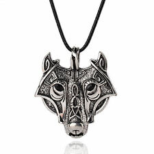 Antique Viking Wolf Face Ornate Plt Norse Silver Necklace Pendant Ladies Mens UK