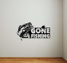 Gone Fishing Wall Decal Vinyl Sticker Fisherman Gift Decor Nautical Poster 744