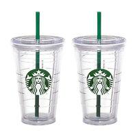 2x Starbucks Reusable COLD CUP GRANDE Coffee Clear Siren Logo Tumbler 2 straw 16