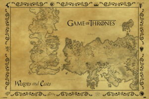 Game Of Thrones Antique Map Westeros Essos HBO Television Series Poster - 36x24
